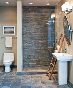 Blue And Gray Glass Tile Used On Accent Wall   Back Wall In Shower Area    Five Foot Wall Bathroom Gallery