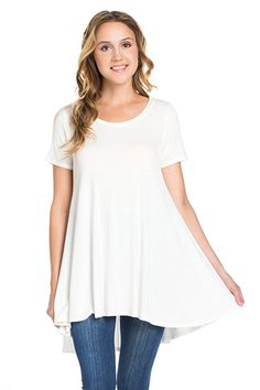 c450dd170d8abf Frumos Womens Short Sleeve Hi Low Tunic Top Ivory. Made in USA. S-3XL. Lauren  Laws · Tops for Leggings