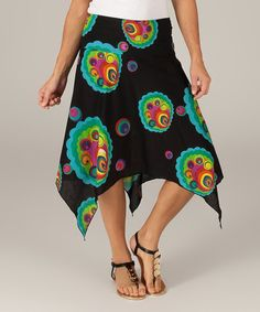 Loving this Black & Teal Abstract Peacock Handkerchief Skirt on #zulily! #zulilyfinds