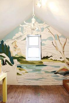 DIY Paint by number mural in playroom or kids room.