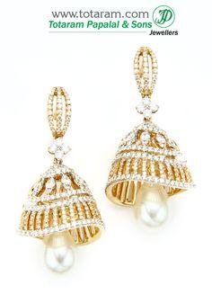 18K Gold Diamond Jhumkas with Pearls