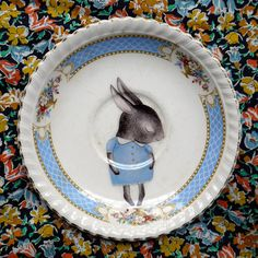 Pale blue shy bunny vintage illustrated plate