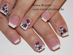 francia feketén fehéren Nail Stuff, Nail Designs, Nails, Beauty, French Nails, Stickers, Nail Art, France, Fingernail Designs