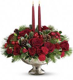Mercury Glass Bowl Bouquet in Metro New Orleans, Villere's Florist. http://villeresflorist.com/metairie-florist/christmas-flowers-3389c.asp?topnav=TopNav