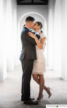 Bride and groom sharing a magical kiss filled with love and passion  #kiss #engagement #photo #gettingmarried