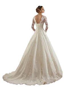 TDHQ Women's Jewel Lace Applique Long Sleeves Sash Chapel Train A Line Wedding Dress White US8