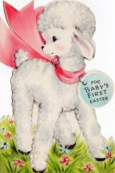 sweet vintage baby's first Easter card -lamb Vintage Greeting Cards, Vintage Postcards, Vintage Stationary, Vintage Easter, Vintage Holiday, Retro Images, Vintage Images, Easter Garland, Easter Pictures