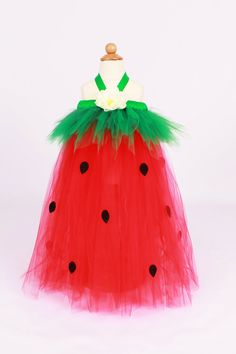 Tutu Dress - Strawberry Birthday or Halloween Costume - Red & Green - Berry Beauty -12 Month to 2 Toddler Girl, via Etsy.