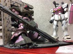 #gunpla Gunpla Diorama: HGUC DOM Vs GM KAI: Work by グリーン Photo Review http://www.gunjap.net/site/?p=248394