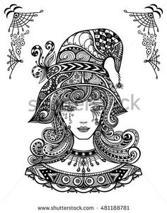 Witch In Hat Zen Doodle Or Tangle Decorative Style Handmade Black On White For Halloween Coloring Page Relax Book Adults
