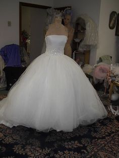 Ivory Tulle Strapless 50s Gown