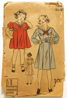 Adorable 1930s girls sailor dress pattern DuBarry 1589B