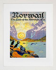 Norway Travel Poster Norwegian Art Home Decor by Blivingstons, $8.99