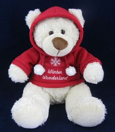 Novelty Sweatshirt Buddies White Plush Stuffed Teddy Bear Animal Red Hoodie | eBay