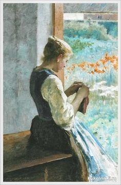 Young Girl Knitting By Open Door, Hugo Federick Salmson (1843-1894), Swedish   /   kyk