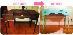 Turquoise lacquered desk DIY project