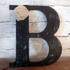 18 Black Rustic Chic Wooden Letter B home decor by ThePinkToolBox