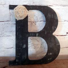 Black Rustic Chic Wooden Letter B home decor letters burlap flower distressed Primitive A C D E F G H I J K L M N O P Q R S T U V W X Y Z on Etsy, $15.00