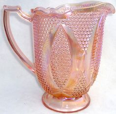 Vintage Westmoreland Glass Pink Carnival High Hob Pattern Water Pitcher.