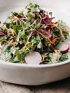 micro green and kale salad with tahini