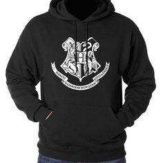 Hogwarts House Crest Hoodie - Harry Potter Black Sweatshirt