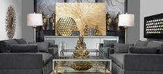 Nice combination of grays with metalic silvers and golds.  (Less the Budda..haha)  Stylish Home Decor & Chic Furniture   Z Gallerie