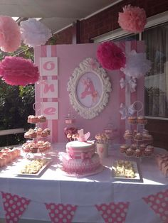 Pretty in pink candy buffet.love this for the baby shower Shower Party, Baby Shower Parties, Baby Shower Themes, Baby Shower Decorations, Baby Shower Candy Table, Shower Ideas, Baby Showers, Princess Birthday, Baby Birthday