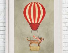 Daschund Print, daschund Illustration Art Poster Acrylic Painting Kids Decor Drawing Gift, Hot Airballoon Print, Dog with airballoon