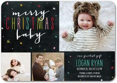 Chalked Tidings - Winter Boy Birth Announcements - Magnolia Press - Bay - Green : Front
