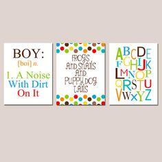 Boy Nursery Trio  Set of Three 8x10 Prints  Boy by Tessyla on Etsy, $55.00