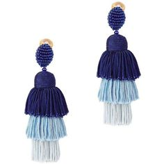 Oscar De La Renta Women's Tiered Tassel Silk Earrings (€410) ❤ liked on Polyvore featuring jewelry, earrings, blue, beaded tassel earrings, silk jewelry, blue jewelry, fringe tassel earrings and earring jewelry