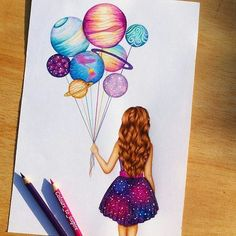 art, drawing, and planet image tattoo girl drawing Image in Art collection by Shan on We Heart It Amazing Drawings, Beautiful Drawings, Cool Drawings, Cute Drawings Tumblr, Pretty Drawings, Art Drawings Sketches, Girly Drawings, Cool Artwork, Amazing Artwork