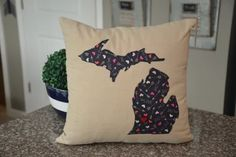 Love hearts Michigan Pillow Cover Any state by HomeSweetMichigan