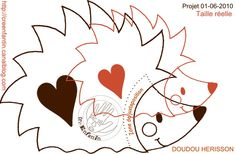 Pattern to make heart hedgehog Felt Patterns, Applique Patterns, Stuffed Toys Patterns, Sewing Patterns, Felt Crafts, Paper Crafts, Hedgehog Craft, Felt Books, Needle Felting Tutorials