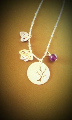 Family Tree Necklace. Mommy Jewelry. Siblings. Grandmother. Inspirational. Sterling Silver