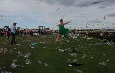 It's a bird, no its a race goer leaping the hoardes of rubbish left behind from Melbourne ...
