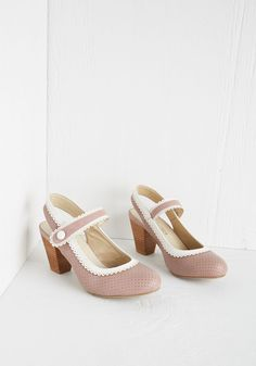 Be Bright There! Heel in Dusty Rose by Chelsea Crew - Mid, Pink, Solid, Buttons, Wedding, Work, Daytime Party, Spring, Better, Slingback, Chunky heel, White, Scallops, Pastel, Variation