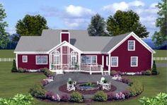 Country , Farmhouse , Ranch House Plan 74834 with 3 Beds, 4 Baths, 2 Car Garage Rear Elevation Modern Farmhouse Plans, Farmhouse Design, Country Farmhouse, Country Living, Country Homes, French Farmhouse, Farmhouse Ideas, Country Kitchen, Farmhouse Decor