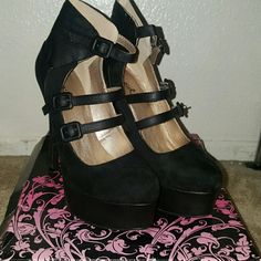 Qupid stilettos Worn once. Size 7. Black suede and faux leather.  1 3/4 platform and 5 1/2 stiletto.  In amazing condition.  Style Ravish Brand Qupid  Willing to bundle!  Make me an offer Qupid Shoes Heels