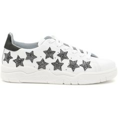 Leather Roger Sneakers With Glitter Stars ($225) ❤ liked on Polyvore featuring shoes, sneakers, rubber sole shoes, chiara ferragni, polish leather shoes, glitter trainers and shiny leather shoes