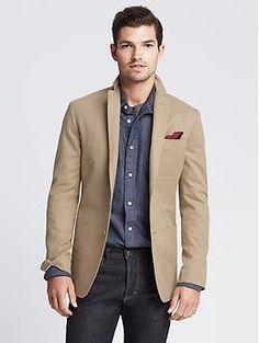 Tailored-Fit Khaki Twill Blazer | Banana Republic