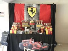 Cool dessert table at a Ferrari racing car birthday party! See more party ideas at CatchMyParty.com!