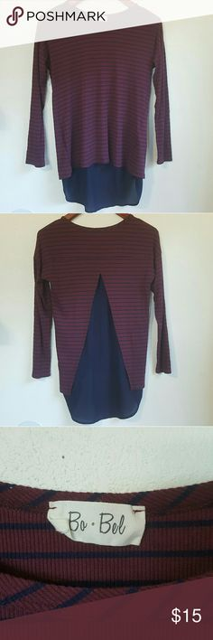 Bo Bel Burgundy Long Sleeve Striped Open Back S Pretty burgundy and navy striped Long sleeve. Has a soft fabric for the main body and a lightweight Flowy fabric within the open Tulip back. Bo Bel Tops Tees - Long Sleeve