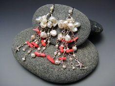 Keishi Pearl w Branch Coral Tassel Earrings Silver Jewelry