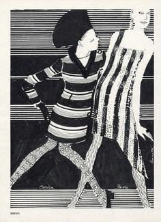 Brunetta 1966 Cardin & Javro Fashion Illustration by Brunetta | Hprints.com