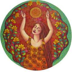 """Saludo al Sol"" by Sonia Koch Sacred Feminine, Louise Hay, Artist Portfolio, Mexican Folk Art, Naive Art, Painting & Drawing, Mandala, Sculptures, Outdoor Blanket"