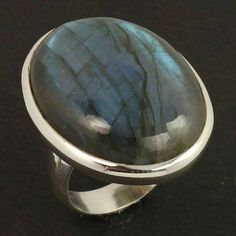 Chunky Ring Size US 7.25 Natural LABRADORITE Oval Gemstone 925 Sterling Silver #Unbranded