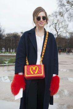 Chiara Ferragni toted chic Moschino accessories  - Paris Fashion Week #StreetStyle Accessories Fall 2014