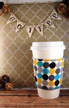 Big Ol' Polka Dots Coffee Cozy - Coffee Cozy - Fabric Coffee Cozy - Tea Cozy by SewLoveToSew on Etsy