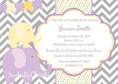 Purple and Yellow Elephant Baby Shower by InvitesByChristie